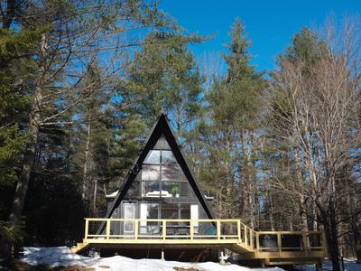 Photo for Mod A Frame Cabin in the Woods Close with Hot Tub -close to Mt. Snow & Stratton!