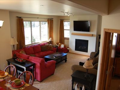 pull-out, flat screen tv and gas fireplace in living room........