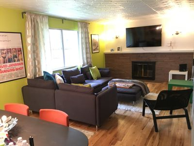 cozy room, large tv, fireplace, premium cable, opens to kitchen