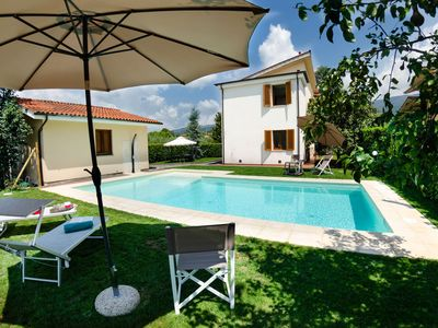 Photo for Beautiful private villa with A/C, private pool, WIFI, TV, pets allowed and parking, close to Lucca