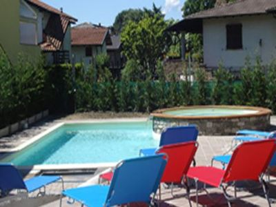 Photo for 3-bedroom apartment Colombo Gravedona with balcony and large pool, a short walk from the lake