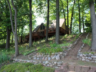 Photo for Lake House on a 4 Acre Wooded Lot With Hot Tub, wooded trails & kayaks!