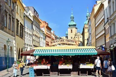 LOCATION! Havelská square market, our building is fourth down on the left.