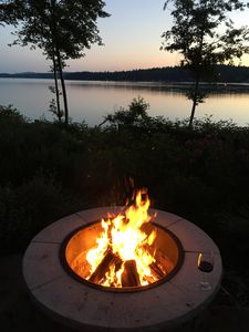Fire pit with another view of the water and Olympic Mountains!