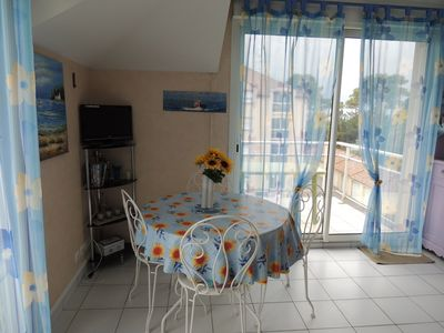 Photo for This charming sea view apartment 50 m from the beach on the Côte de Jade
