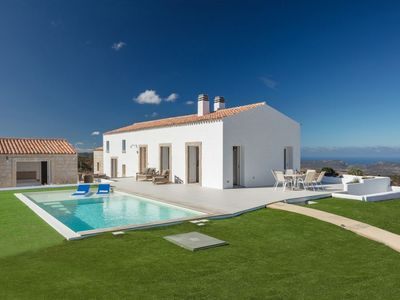 Photo for Stazzo design with pool wonderful view towards the sea