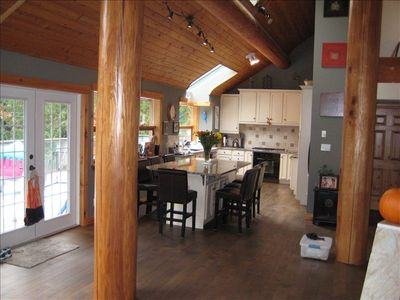Bright big open plan kitchen with views of Whistler Mountain