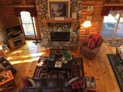 Photo for Genuine Log Home ~ Perfect Getaway ~ 3 BD/3.5 BA ~ Pool Table ~ Outdoor Hot Tub