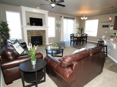 Photo for Stylish New Home! 2 Master Suites, 5 Bedroom, 3 Full Bath, Golf Course Community
