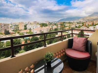 Photo for Perfect flat 5 min from the beach + pool + WIFI + 2 terraces + Sea Views