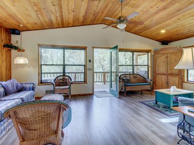 Photo for Bright, inviting cabin in quiet location with mountain views & large balcony