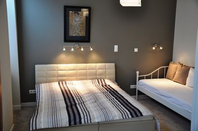 Master Bedroom with double and single bed