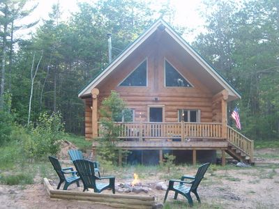 Beautiful log cabin nestled in the Hiawatha National Forest located in The UP.
