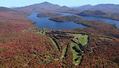 A spectacular view of the Whiteface Club & Resort, Lake Placid and Whiteface!