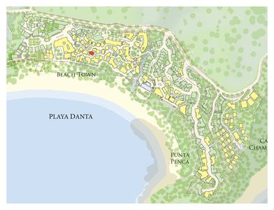 Location of Casa Mar y Sol in Las Catalinas Beach Town