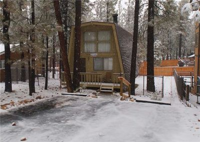 Snow covered Big Bear Cool Cabins,Fanciful Winters Lake front