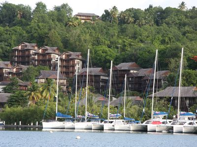 2 bedroom luxury hillside apartment with verandah and spectacular bay views