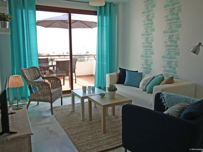 Photo for Bright modern apartment - 2 bedrooms - pool - air con - Wifi - parking - terrace