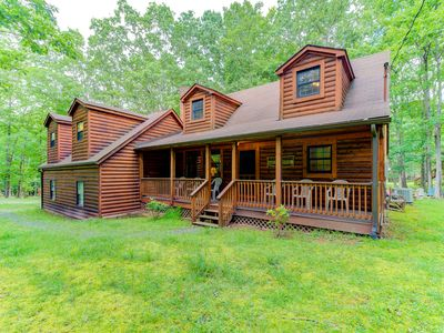 Photo for Cozy cabin w/ hot tub, lake access, screened porch, & firepit