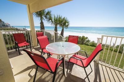 Gulf front balcony- ground level- walk right out to beach