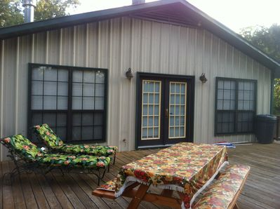 The deck is 600 square feet. Lots of room for sitting, relaxing & grilling out