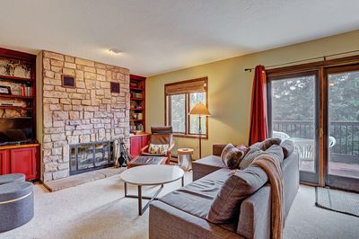 Trappeur 3 - a SkyRun Breckenridge Property - Relaxing living room with a wood burning fireplace.