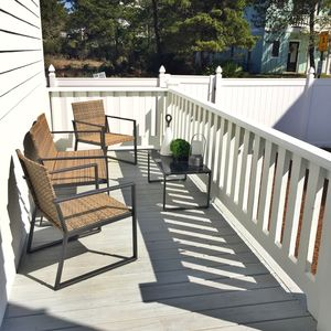 Large back deck overlooks back yard, perfect in the morning sun with coffee!
