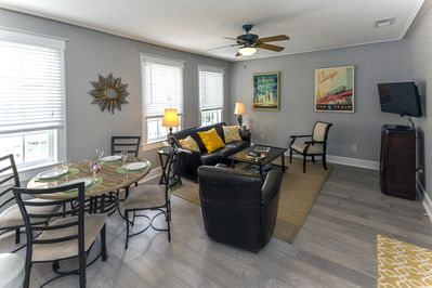 Open living and dining space.