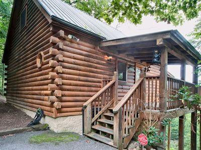 Photo for Bear Pause Cabin is situated on a high ridge overlooking a lush forested valley with panoramic views