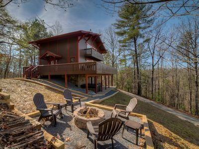 Photo for Eagles View Chalet  Coosawattee River Resort  Fire Pit  Wood Fireplace  Wifi  Hot Tub  Pets Welcome!