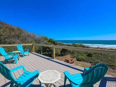 Photo for Oceanfront Beach House with Amazing Views, Private Beach Access, Sundeck, Yard & Screened Porches.