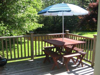 Back deck overlooking the pond