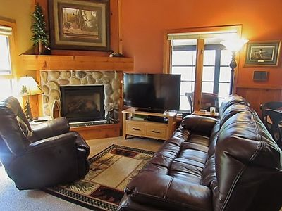 "Living Room with 50"" TV and gas fireplace"