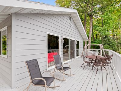 Photo for NEW LISTING! Lakefront home with pier, canoe, and firepit - family-friendly!