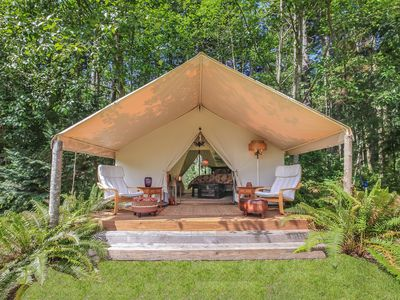 """Photo for A Unique """"Glamping"""" Wall Tent on Whidbey Island"""