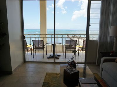 Photo for Direct Oceanfront Waikiki!  Parking, Swimming Pool, Hot tub, Gym Incl
