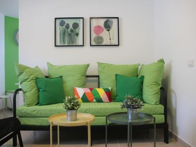 Photo for Cozy apartment 500 meters from the beach (wifi & sat TV)