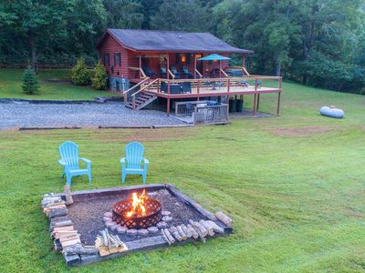 Photo for Log cabin with large open deck, seasonal fireplace & picnic gazebo!
