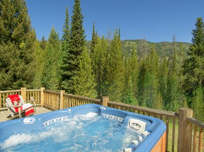 The upper deck hot tub