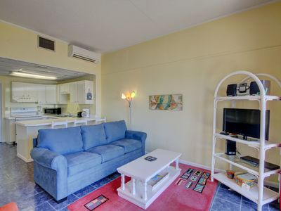 Photo for Comfy Studio Condo w/Patio, Sauna, Pool, Gym, Private Beach Access, & More!