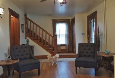 Living room view 2.  Adorable little dog not included with rental.