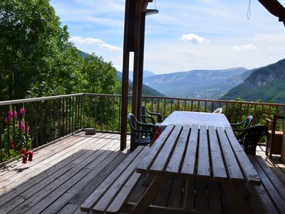 Photo for PROMO - Quiet and spacious mountain chalet with terrace and views of the valley