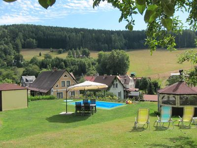 Photo for Holiday home with large garden, private swimming pool, beautiful view and directly by the piste