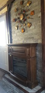 Fireplace with feature wall