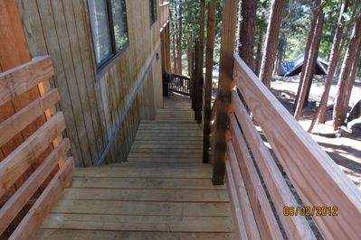 Stairway along side of main house down to Cozy Cub unit.