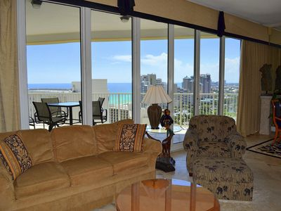 Tides 1511 Living Room - Enjoy gulf views from the living room and balcony!