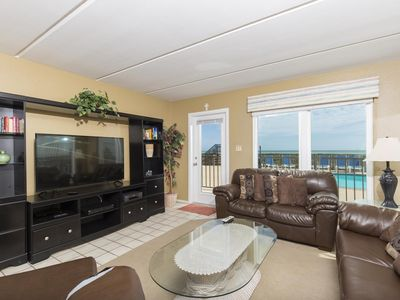 Photo for Lovely deluxe condo right on the beach. Private patio.