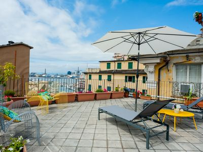 Photo for Old Genoa apartment - 100 meters Aquarium, terrace with sea view, families