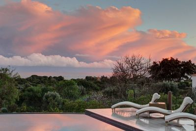 We get spectacular sunsets at the villa