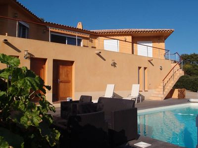 Photo for Superb Villa Partial Sea View Beach access on foot, private pool